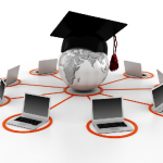 Images of computers with graduation cap in center