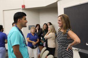 Britt Flanagan with a student