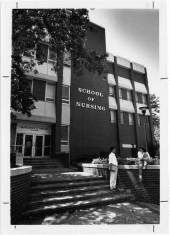 Moore Building with students